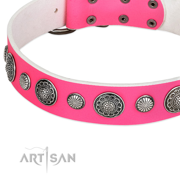 Full grain genuine leather collar with strong traditional buckle for your beautiful canine