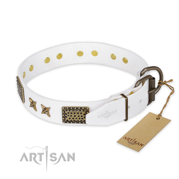 Corrosion resistant hardware on full grain natural leather collar for your attractive canine