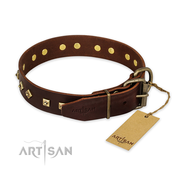 Rust-proof D-ring on genuine leather collar for walking your four-legged friend