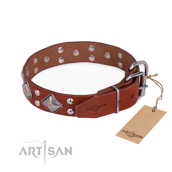 Genuine leather dog collar with stunning rust resistant embellishments