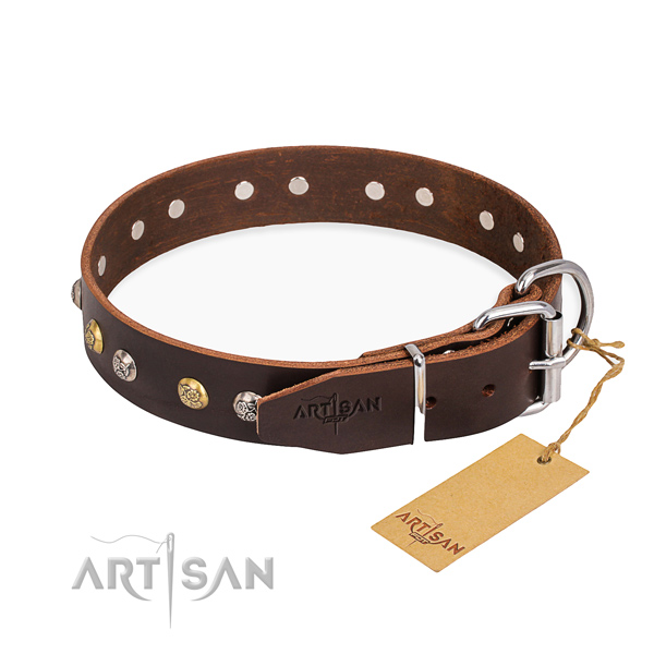 Soft full grain leather dog collar created for comfortable wearing