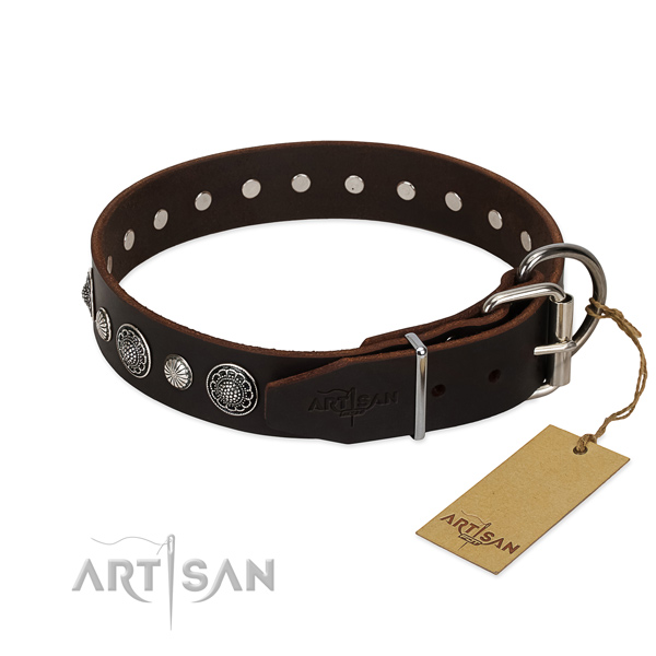 Top notch natural leather dog collar with rust-proof hardware