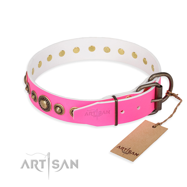 Gentle to touch full grain genuine leather dog collar made for daily use