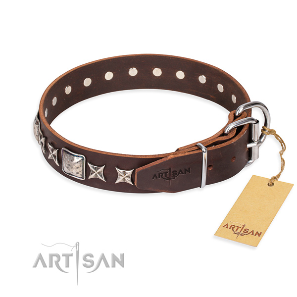Durable embellished dog collar of full grain natural leather