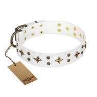 """Bright Stars"" FDT Artisan White Leather Riesenschnauzer Collar with Old Bronze Look Decorations"