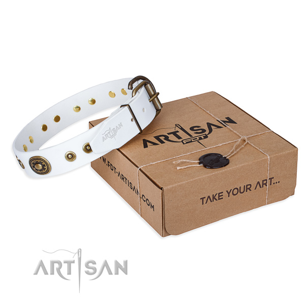 Leather dog collar made of top notch material with corrosion proof buckle