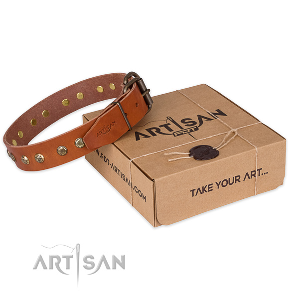 Rust-proof hardware on natural genuine leather collar for your stylish pet