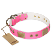 """Pink World"" FDT Artisan Pink Leather Riesenschnauzer Collar with Old Bronze Look Plates and Studs"