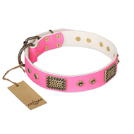 """Frenzy Candy"" FDT Artisan Decorated Pink Leather Riesenschnauzer Collar"