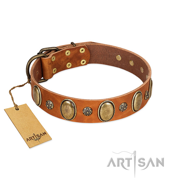 Comfy wearing soft full grain natural leather dog collar with studs
