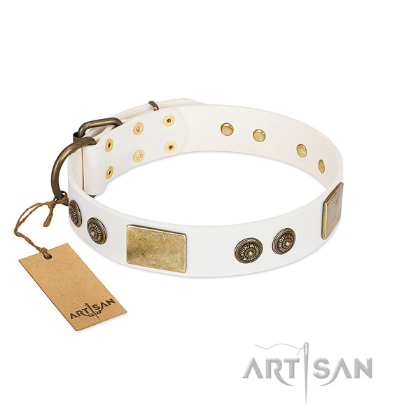 Top quality full grain leather dog collar for comfortable wearing