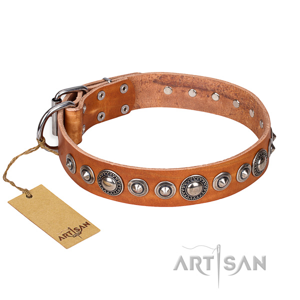 Genuine leather dog collar made of reliable material with corrosion proof fittings