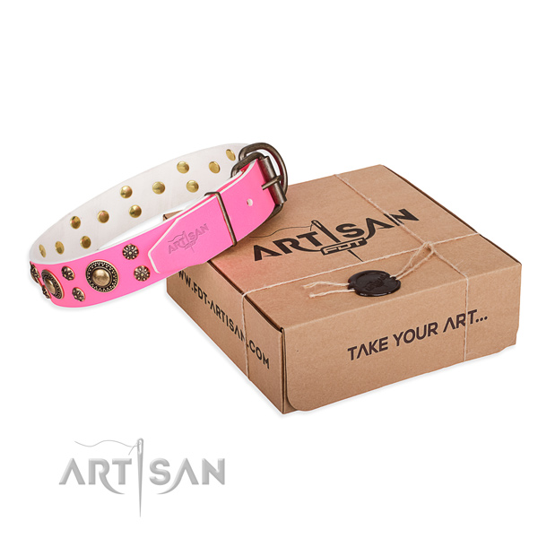 Handy use dog collar of durable full grain genuine leather with embellishments
