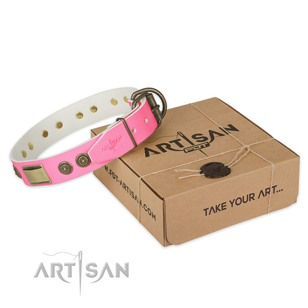Durable hardware on dog collar for easy wearing