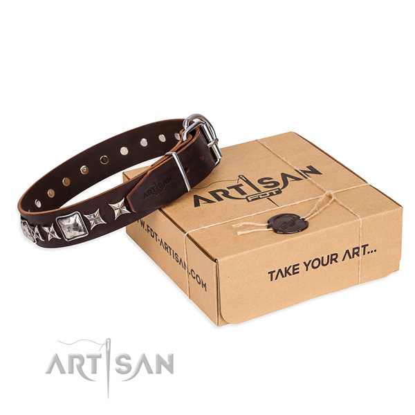 Handy use dog collar of top quality full grain genuine leather with embellishments