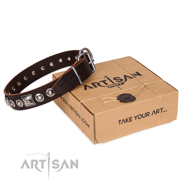 Full grain genuine leather dog collar made of gentle to touch material with corrosion proof hardware