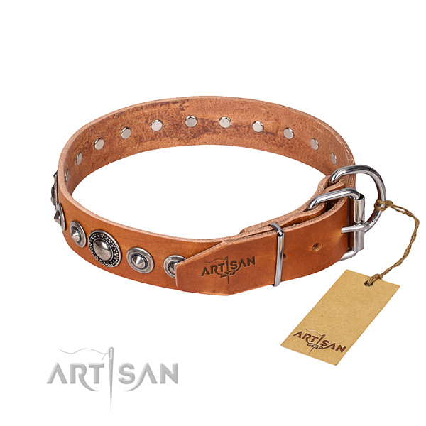 Full grain leather dog collar made of soft material with reliable decorations