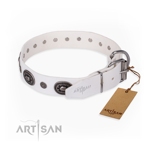 High quality natural genuine leather dog collar created for comfortable wearing