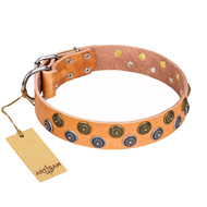 """Precious Sparkle"" FDT Artisan Handcrafted Tan Leather Riesenschnauzer Collar"