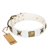 """Glo Up"" FDT Artisan White Leather Riesenschnauzer Collar with Skulls and Crossbones Combined with Squares"