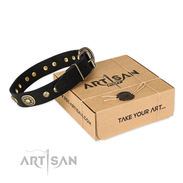 Corrosion proof buckle on full grain genuine leather dog collar for easy wearing