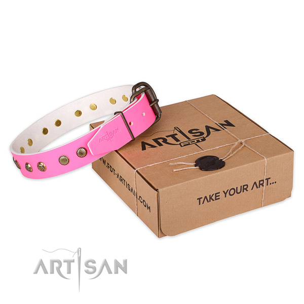 Rust resistant D-ring on full grain leather collar for your attractive pet