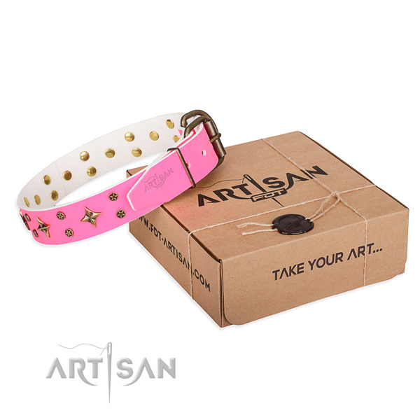 Handy use dog collar of strong full grain leather with decorations