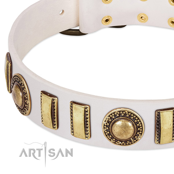 Flexible natural leather dog collar with corrosion proof buckle