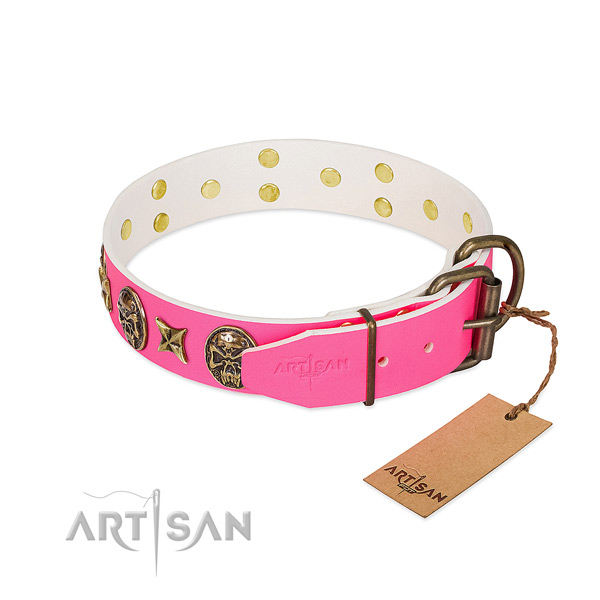 Corrosion proof D-ring on natural genuine leather collar for everyday walking your pet