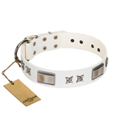 """Bling-Bling"" FDT Artisan White Leather Riesenschnauzer Collar with Sparkling Stars and Plates"