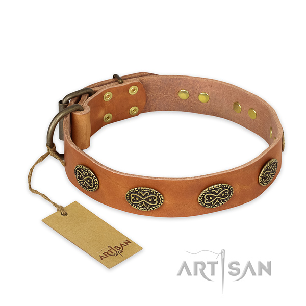 Embellished full grain natural leather dog collar with durable D-ring