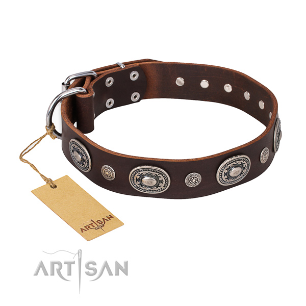 Strong genuine leather collar handmade for your dog