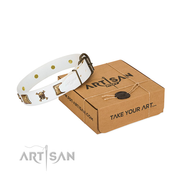 Comfy wearing soft to touch full grain natural leather dog collar with decorations