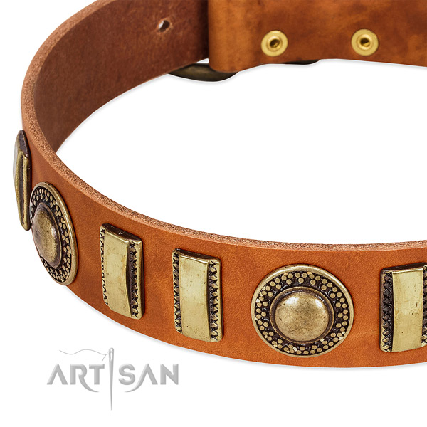 Reliable full grain genuine leather dog collar with rust resistant D-ring