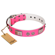 """Lady's Whim"" FDT Artisan Pink Leather Riesenschnauzer Collar with Plates and Spiked Studs"