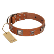 """Amorous Escapade"" Embellished FDT Artisan Tan Leather Riesenschnauzer Collar with Chrome Plated Crossbones and Plates"