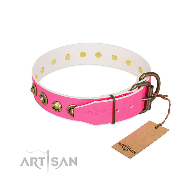 Full grain natural leather collar with unique embellishments for your dog