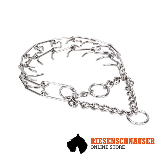 Adjustable stainless steel dog prong collar with removable prongs for medium and large canines