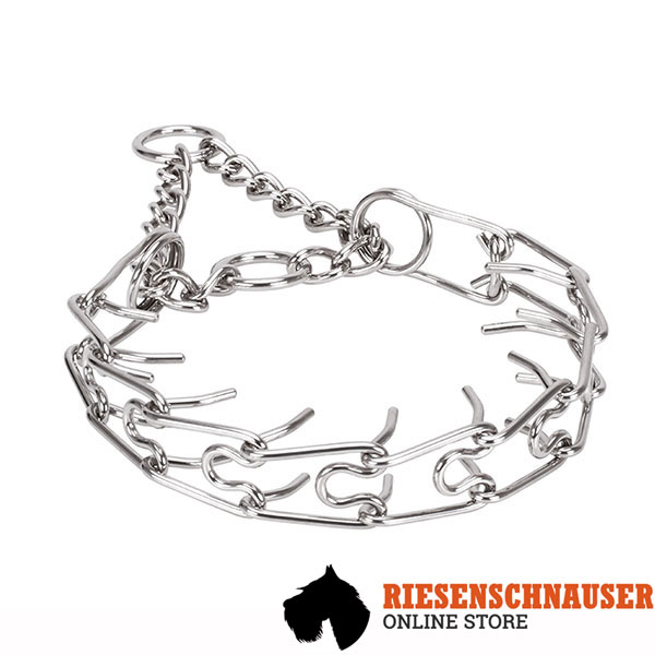 Strong corrosion resistant dog prong collar with stainless steel removable links