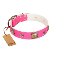 """Charm and Magic"" FDT Artisan Pink Leather Riesenschnauzer Collar with Luxurious Decorations"