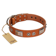 """Pawsy Glossy"" FDT Artisan Exclusive Tan Leather Riesenschnauzer Collar 1 1/2 inch (40 mm) wide"