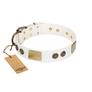"""Sweet Melody"" FDT Artisan White Leather Riesenschnauzer Collar with Plates and Ornamented Studs"