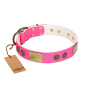 """Queen's Whim"" FDT Artisan Fancy Walking Pink Leather Riesenschnauzer Collar Adorned with Old Bronze-like Plates and Studs"