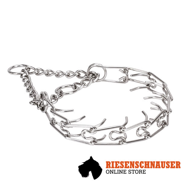 Corrosion resistant stainless steel prong collar for poorly behaved canines