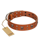 """Rebellious Nature"" FDT Artisan Tan Leather Riesenschnauzer Collar Embellished with Crossbones and Square Studs"