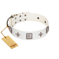 """Vanilla Ice"" FDT Artisan Handmade White Leather Riesenschnauzer Collar with Silver-like Adornments"