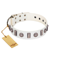 """Icy Spike"" Designer FDT Artisan White Leather Riesenschnauzer Collar with Silver-Like Decorations"