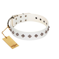 """Snowy Day"" Stylish FDT Artisan White Leather Riesenschnauzer Collar with Small Dotted Pyramids"